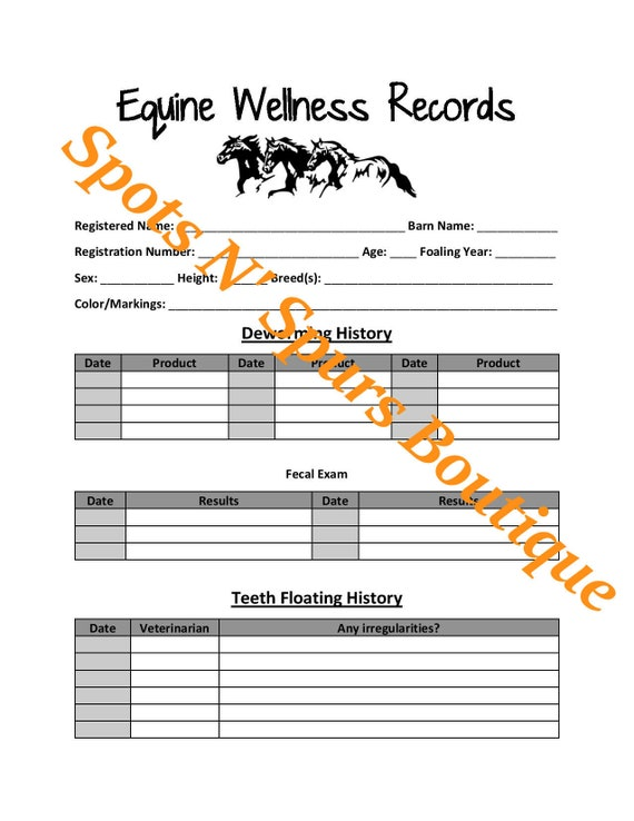 Horse Equine Wellness Health Records