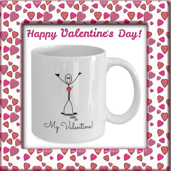Happy Valentine S Day Gift Mug Cute Stick Figure With Etsy