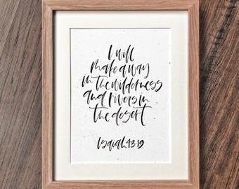 Bible Verse Calligraphy Original: I Will Make a Way