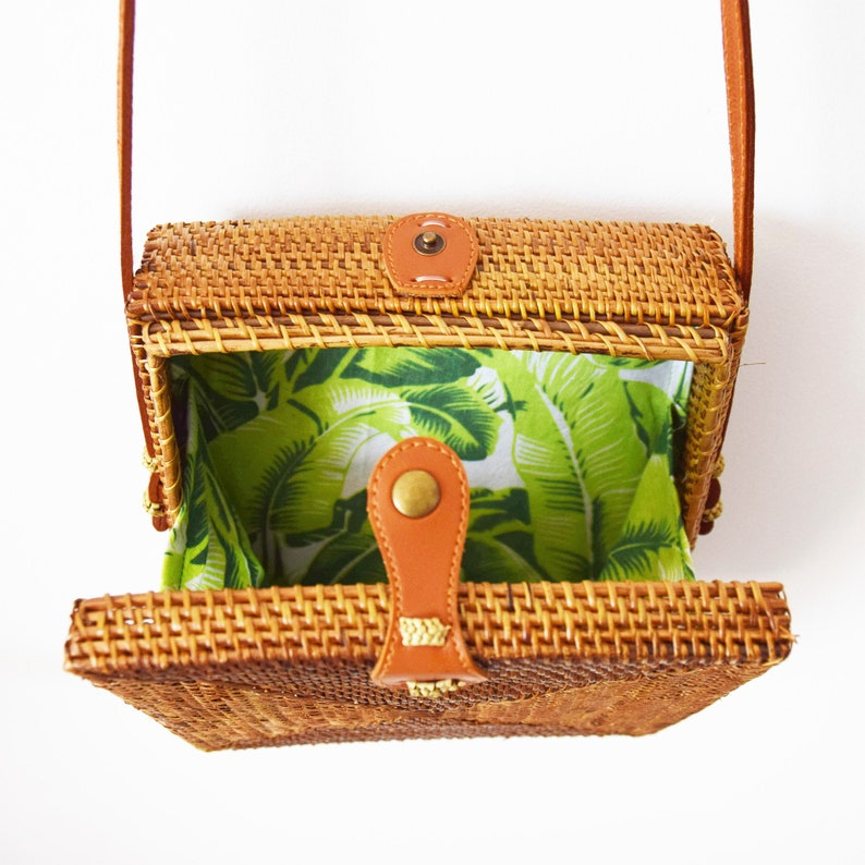 Square oval bag cross body bag bambien bag rattan bag wicker bag boho bag bali bag square atta bag