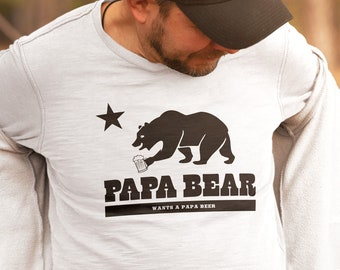 California Papa Bear Wants a Papa Beer - Great Dad, Funny Fathers Day Gift, Gift for Dad, New Daddy Gift, Mens T Shirts, Hoodies & Tank Tops
