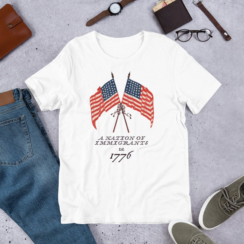 Nation of Immigrants  American Flag 4th of July Multicultural image 0