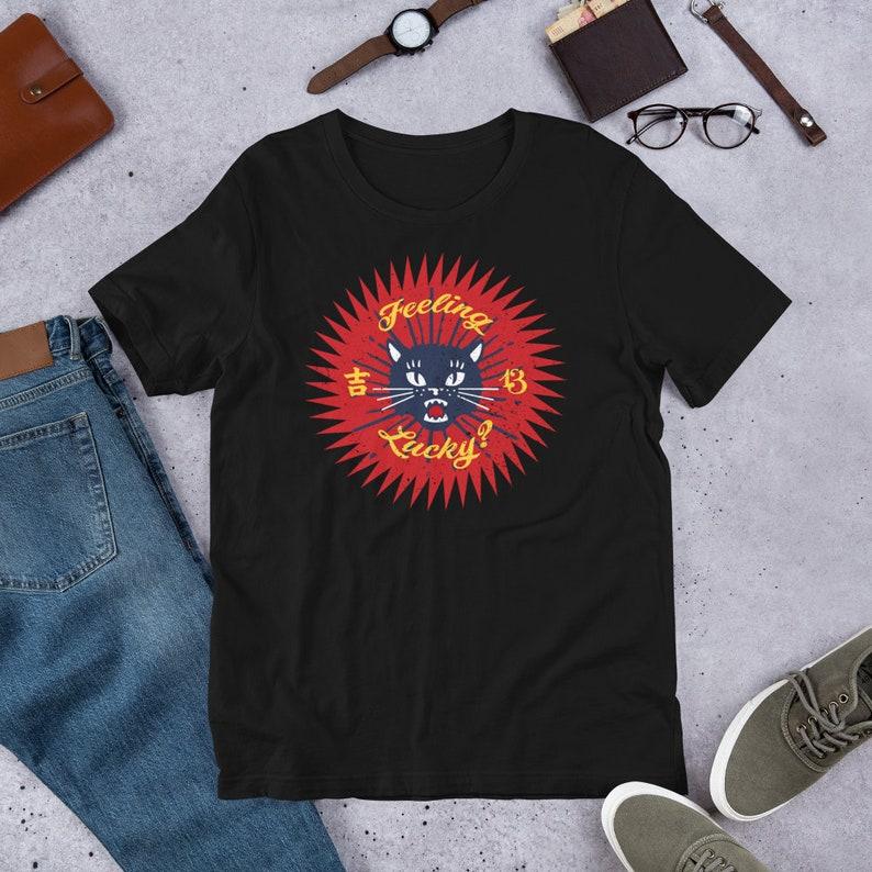 Feeling Lucky   Grunge Style Black Cat Retro T Shirts image 0