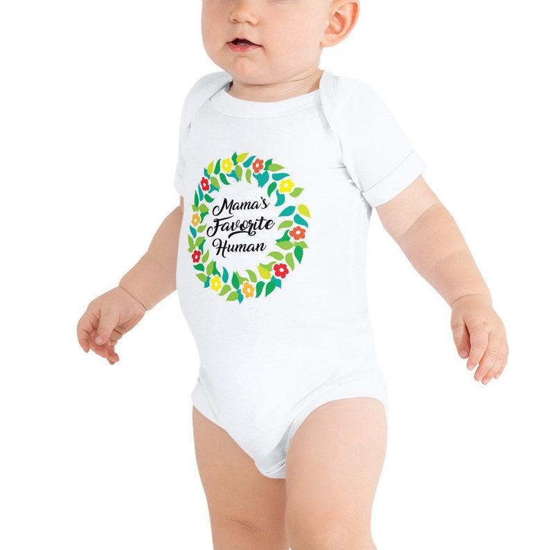 Mama's Favorite Human  Cute Baby Onesie Bodysuit Baby image 0