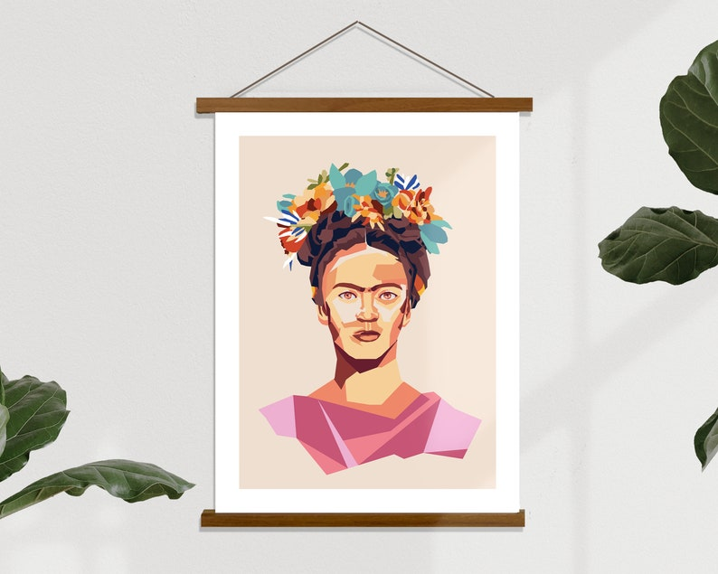 Frida Kahlo Graphic Poster  Minimalist Home Office Decor image 0