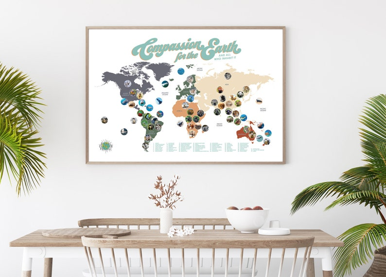 Compassion for the Earth World Map Poster featuring worlds image 0