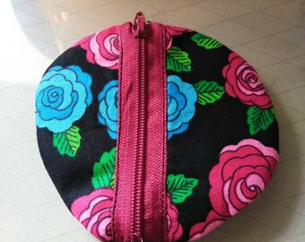 Blue and red flower circle zipper ear bud pouch case coin purse holder.