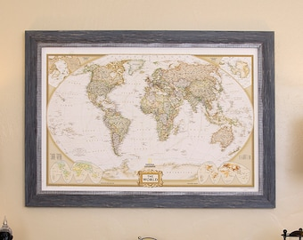 World map canvas etsy world map canvas print personalized world map push pin travel map vintage framed custom classic world map art large wall art home decor gumiabroncs Choice Image