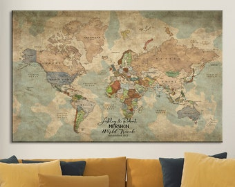 Push pin map etsy push pin travel map of world 1 panel vintage map push pin map fathers day gift large wall art push pin world map graduation gift gumiabroncs Gallery