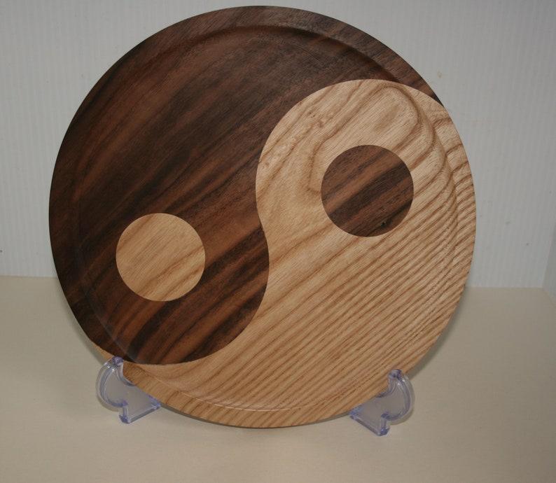 Yin Yang platter in walnut and oak or walnut maple Walnut Oak
