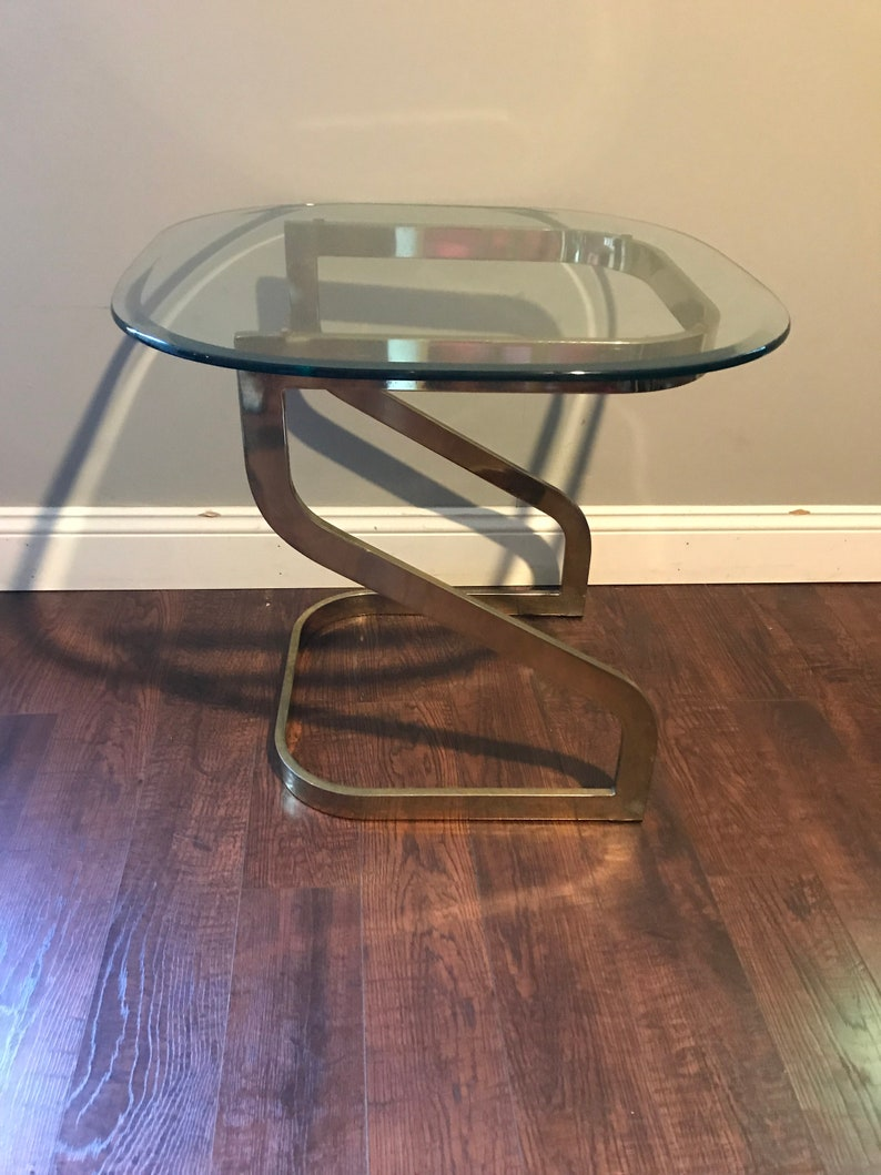 Milo Baughman Gold Chrome and Glass Side Table End Table MCM