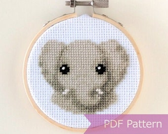 Elephant cross stitch pattern PDF - Baby elephant embroidery PDF - Instant download - Small