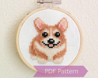 Corgi cross stitch pattern PDF - Corgi embroidery - Instant download - Small