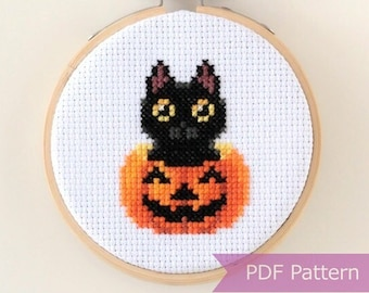 Black cat in pumpkin cross stitch PDF - Halloween embroidery - Instant download - Small