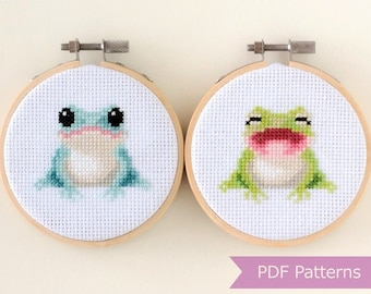 Frogs cross stitch pattern PDF bundle - Blue + Green Frog embroidery - Instant download - Small