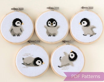 PDF pattern Xmas Penguins cross stitch pattern,Christmas Decor wall art instant Download PDF Cross Stitch pattern christmas sew patterns