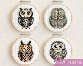 DRESS IT UP BUTTONS ~ SEW CUTE OWLS ~ 8 OWLS ~ VARYING SHADES