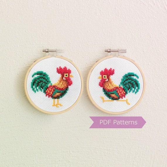 Chickens Cross Stitch Pattern Rooster Cross Stitch Farm Cross Stitch Domestic Birds Counted PDF Chart