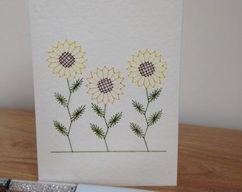 Sunflower Card Hand Stitched