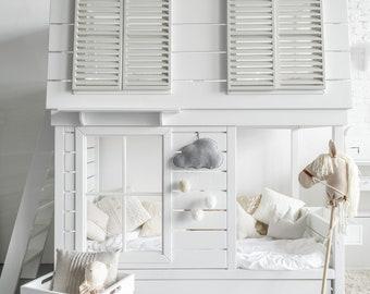 Bunk Bed, Girls Loft Bed, Boys Loft Bed, Playhouse Bed, Dollhouse Loft Bed,  Montessori Bed, Girl Bed, Boy Bed, Tiny House, Cottage Loft