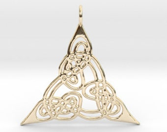18k gold Trinity necklace, Trinity knot necklace, Celtic necklace, Triquetra pendant, Triquetra necklace, Wiccan jewelry, Pagan necklace.
