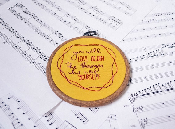 Love after Love by Derek Walcott Poetry Quote Embroidery Hoop Art