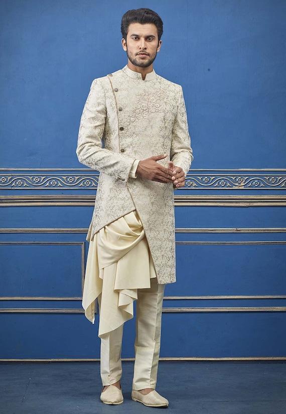 Cream designer Indo western sherwani