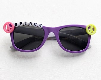 e28200f3429 peace sign custom sunglasses kids sunglasses toddlers girls babies  bedazzled birthday gift kids shades party favor summer big sister