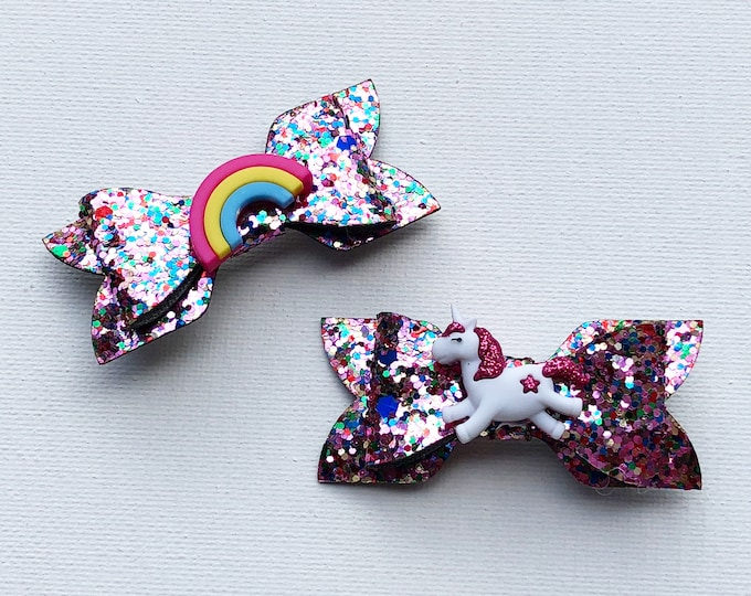 rainbow unicorn pink multicolor glitter bows babies girls toddler disney princess party favor birthday gift accessories hair clips pig tails