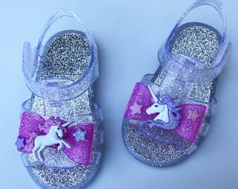 d9e285aa676c unicorn bow jelly sandals girls bedazzled personalized sparkle glitter  princess toddler birthday party theme baby
