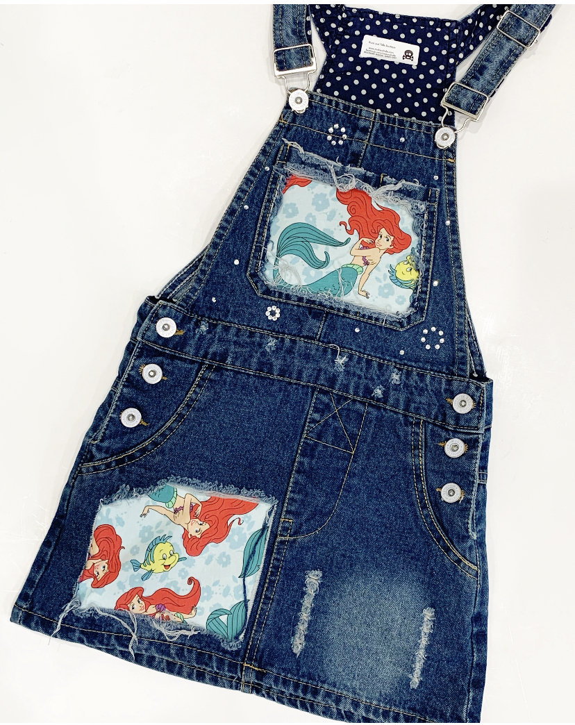Vintage Overalls & Jumpsuits Ariel Overalls Dress Little Mermaid Distressed Denim Party Birthday Outfit $44.00 AT vintagedancer.com