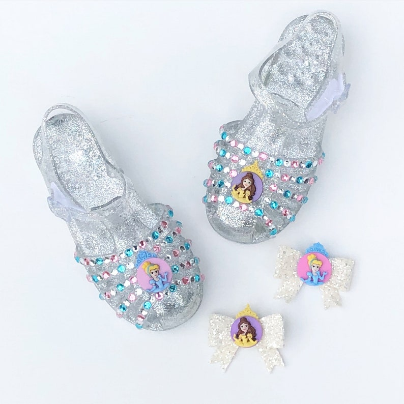 64572452bcb1 Princess Ariel belle jelly shoes sandals girls bedazzled