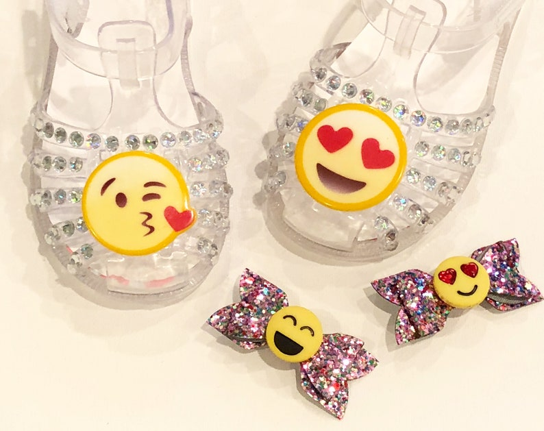 heart eyes kissing face emoji jelly shoes sandals girls bedazzled  personalized toddler birthday party theme baby girls