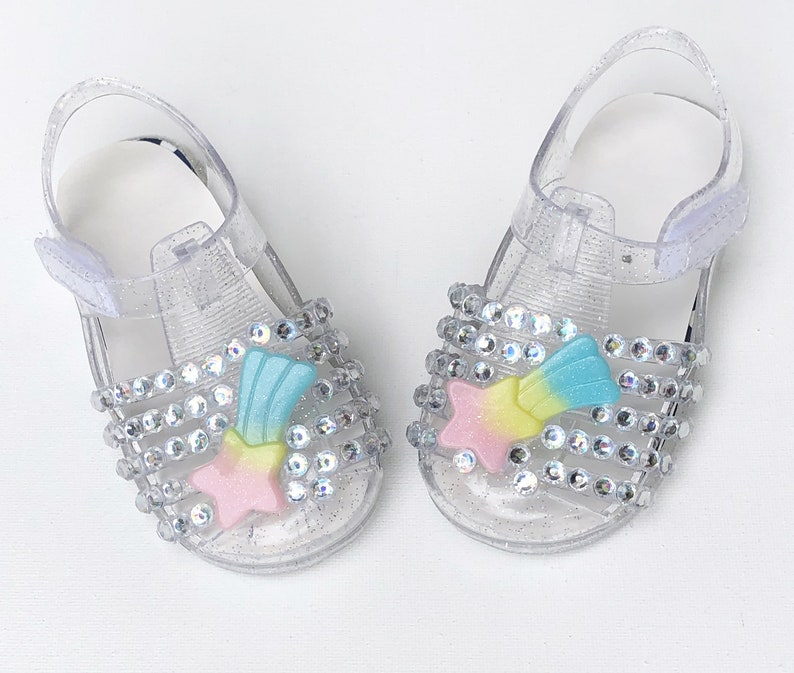 Party Theme Sandals Girls Bedazzled Toddler Personalized Star Baby Birthday Jelly Shoes Unicorn Glitter Sparkle Shooting w80vmNOn