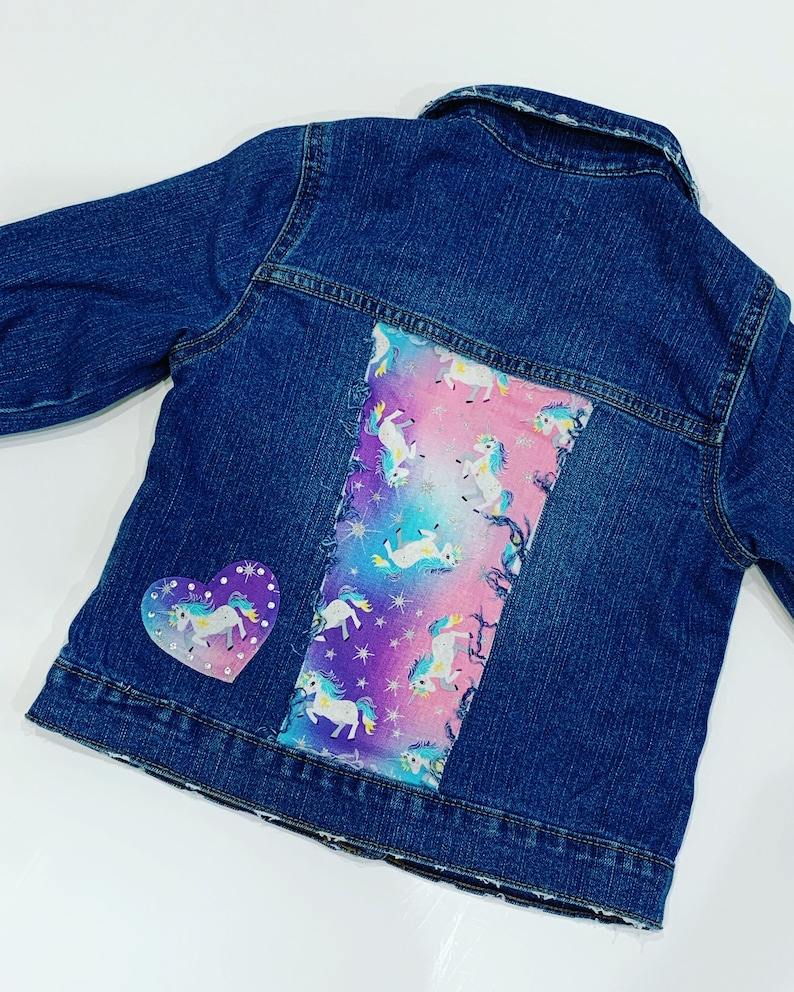 3ee6d335c Unicorn jean jacket unicorn party Distressed denim jacket girls jean jacket  Distressed jean jacket toddler jean jacket girls jean jacket