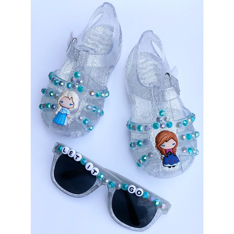 1ade2eedb Frozen jelly shoes sandals girls bedazzled personalized | Etsy
