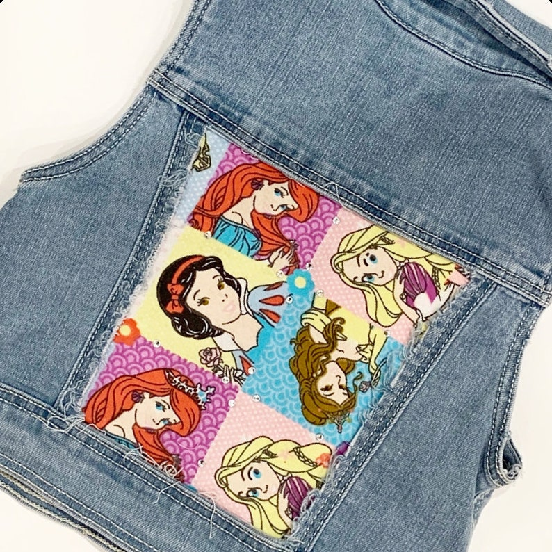 6ef338ea0 Distressed denim vest girls vest jean vest princess party birthday outfit  Ariel belle snow White rapunzel sleeping beauty Cinderella