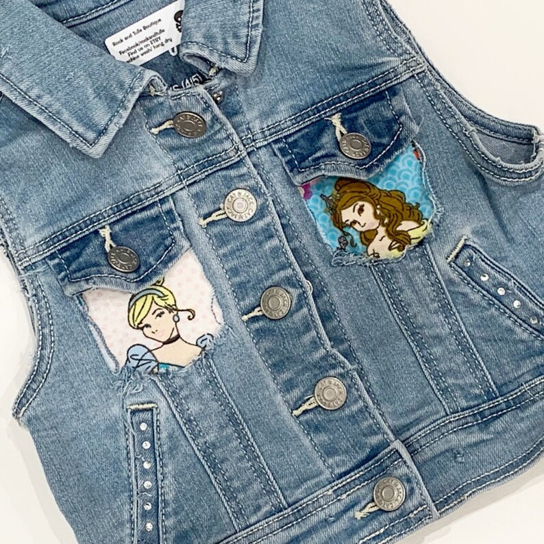 f60ae5af8 Princess Jean vest Princess Jean jacket distressed jean jacket distressed  vest princess birthday party Ariel Snow White Belle rapunzel