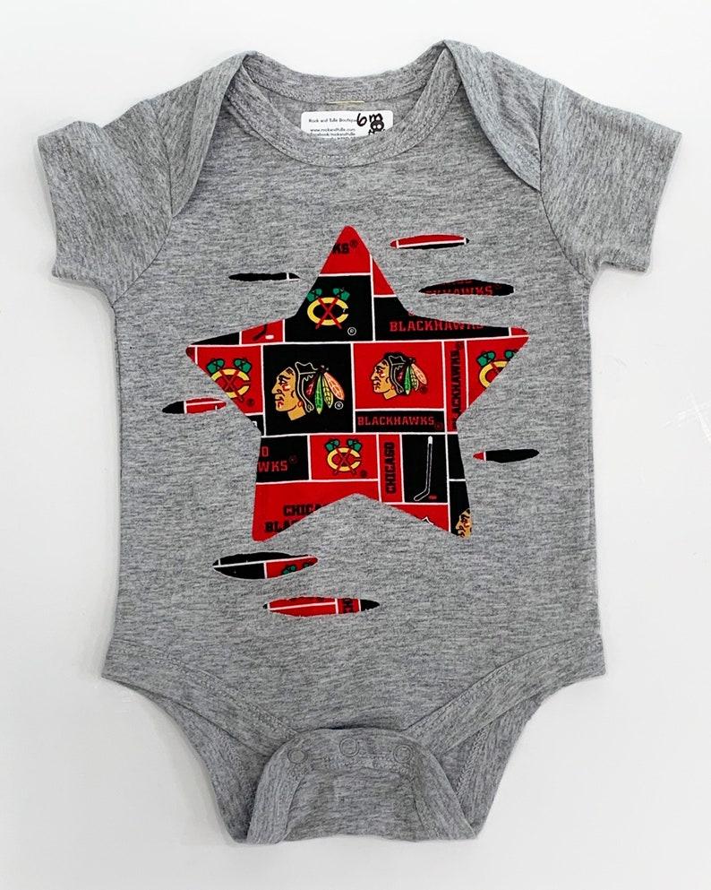 new style 43112 7df17 Chicago blackhawks onesie Blackhawks one piece Blackhawks shirt Blackhawks  baby gift Blackhawks clothes distressed baby clothes baby shower