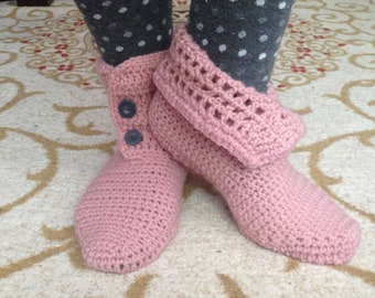 Crochet Slippers, Slipper Boots, Crochet Booties, Gift for Her, Indoor Shoes, Home Shoes, Handmade Gift, House Slippers, Gift for Her