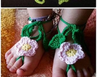 Crochet barefoot sandals, CROCHET FLOWER BAREFOOT baby flower sandals, victorian lace,  baby sandals, anklet, steampunk sandals, beach pool