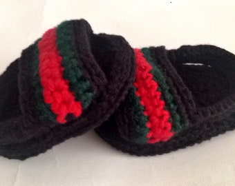 7c730f7e2c9 hand-crafted flip flop inspired by Gucci ideal for babies