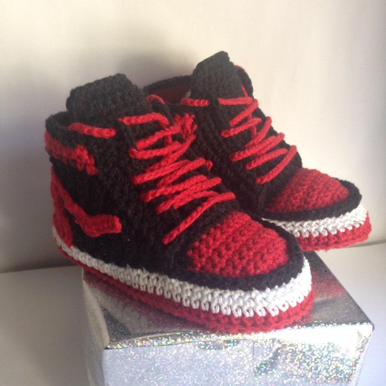 461e8b29706b Express shipping Crochet baby Nike style booties Air Jordan