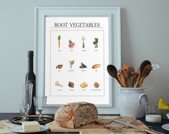 Root vegetables guide print, Farmhouse decor, home decor, MEANDMK, digital download, printable