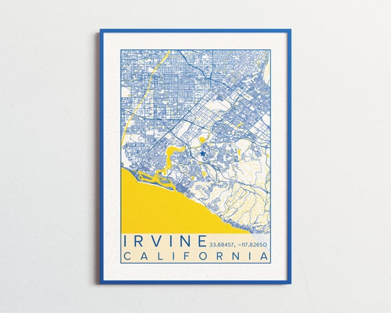 Irvine CA Map UC Irvine Poster Print City Map California Anteaters Map  Irvine California Custom City Maps Custom University College Poster