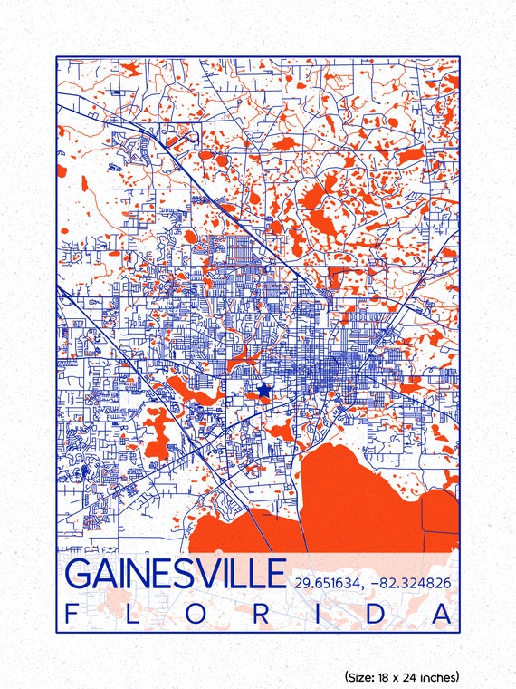 Map Of University Of Florida.Gainesville Map University Of Florida Print City Of Etsy