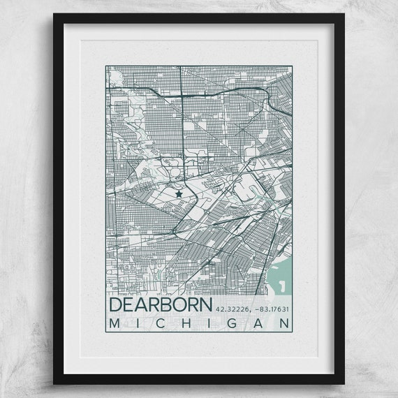 Dearborn City Map Print Poster Blue Green Dearborn Down River Etsy