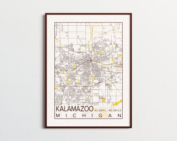 Kalamazoo Map Western Michigan University Poster Print City of Kalamazoo  Michigan Map WMU City Maps Custom University College Art Poster