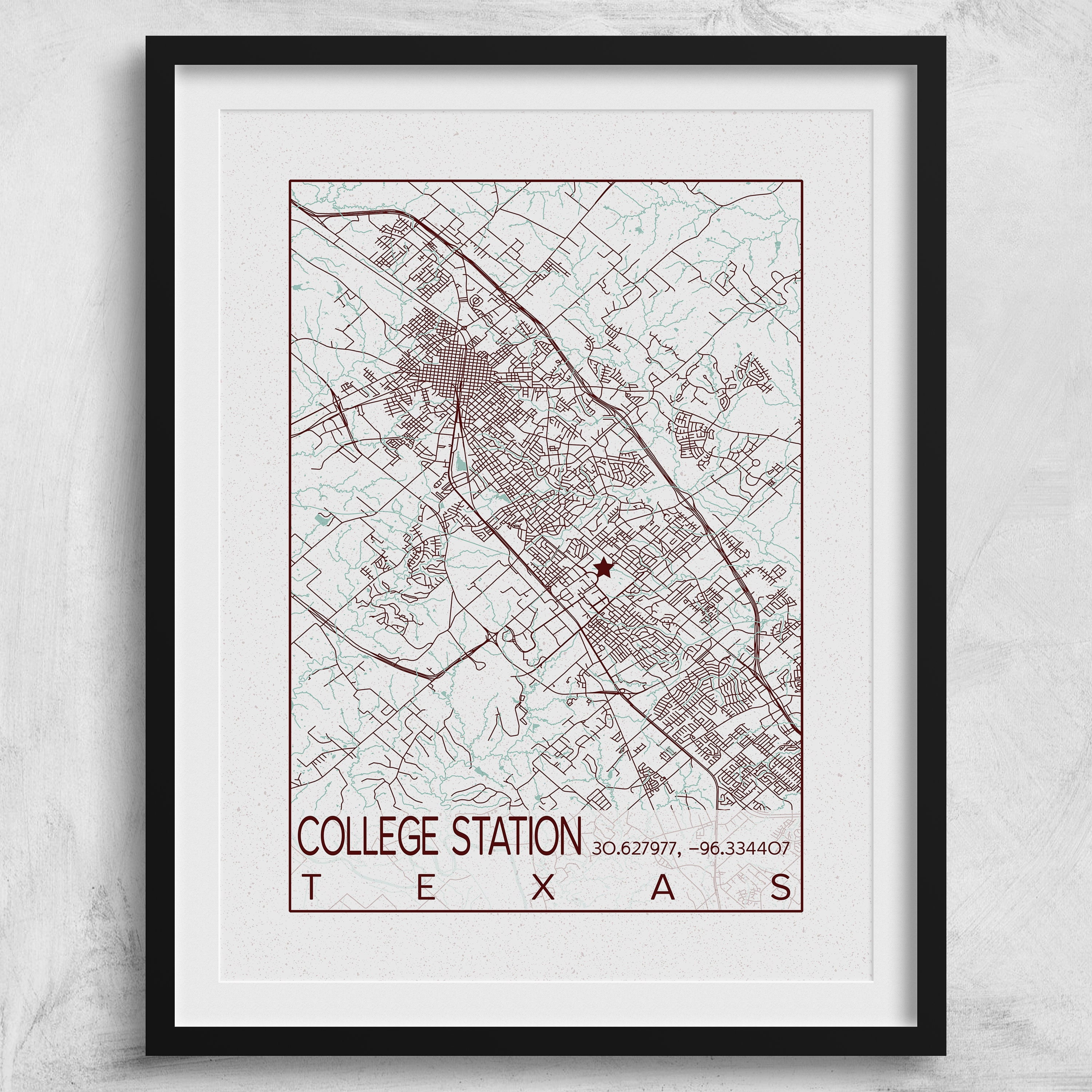 College Station Map Of Texas.College Station Map Texas A M University Poster Print City Of