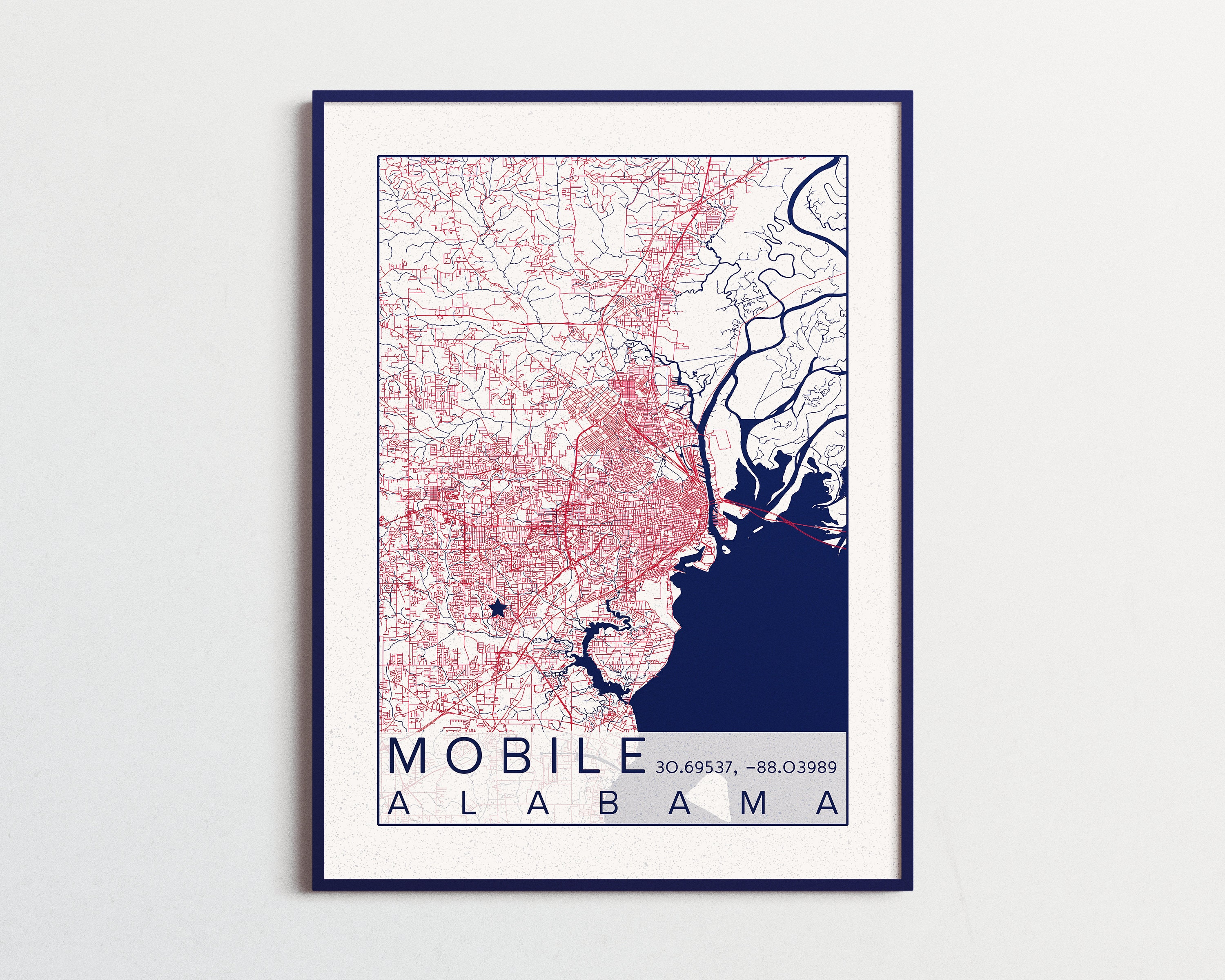 Mobile Map University of South Alabama Poster Print City of ...
